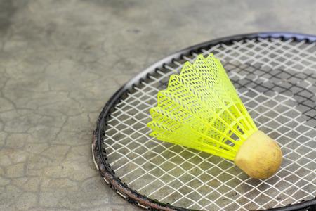 badminton: Shuttlecock and Racket badminton in stadium Stock Photo