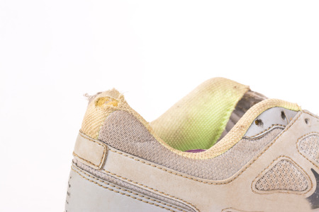 dog bite: old sneakers was dog bite Stock Photo