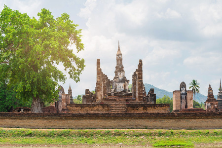 head stones: old buddha and pagoda at Sukhothai Historical Park,Thailand