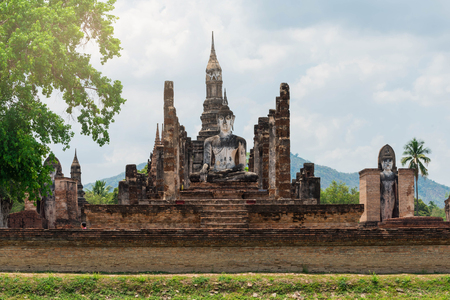 old buddha and pagoda at Sukhothai Historical Park,Thailand