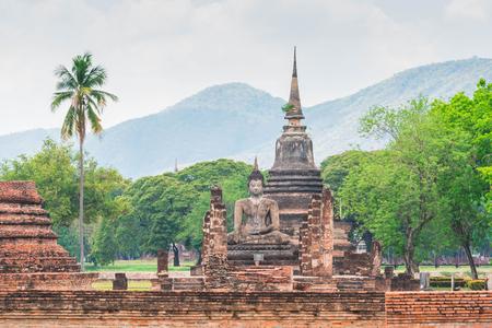 old buddha and pagoda at Sukhothai Historical Park,Thailand