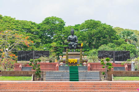 King Ramkhamhaeng, the great king of Sukhothai at Sukhothai Historical Park,Thailand 版權商用圖片