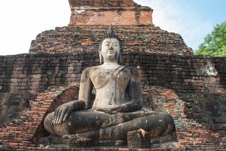 Ancient pagoda and big buddha at Sukhothai Historical Park in Sukhothai Province,north of Thailand.