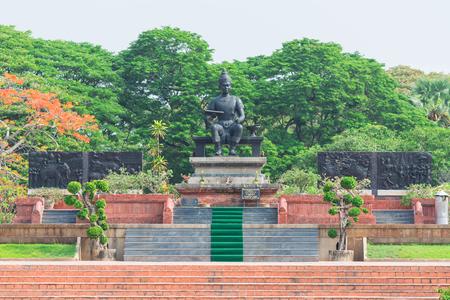 king ramkhamhaeng: SUKHOTHAI, THAILAND - May 1, 2017: Monument of King Ramkhamhaeng at Sukhothai Historical Park, The great king of the Sukhothai period in Thailand