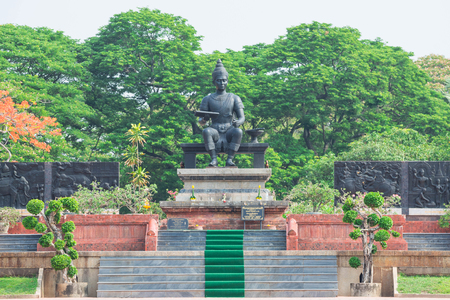 SUKHOTHAI, THAILAND - May 1, 2017: Monument of King Ramkhamhaeng at Sukhothai Historical Park, The great king of the Sukhothai period in Thailand