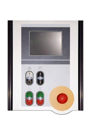 tablero de control: panel de control, aislados en blanco  Foto de archivo