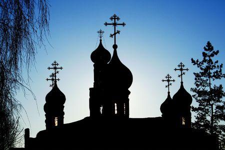 cupolas: Silhouette of orthodox church. Cupolas.