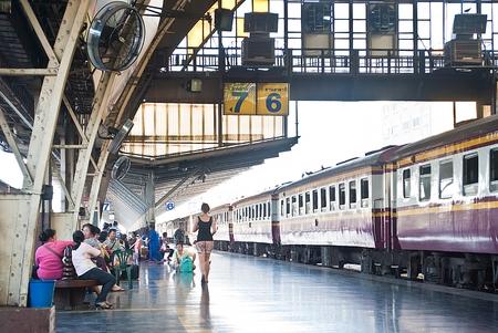 Bangkok, Thailand - January 09, 2015 Passengers arrive at Central Station,Inside Bangkok Railway Station on January 09, 2015 at Bangkok Railway Station, unofficially known as Hua Lamphong Station, is the main railway station in Bangkok,Thailand.
