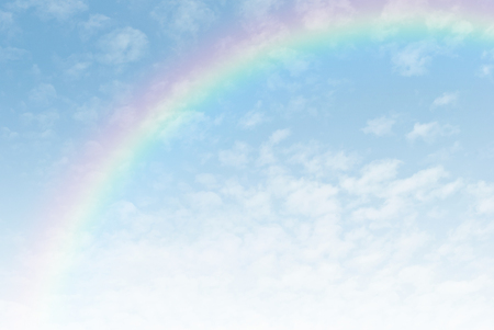 rainbow in the blue sky after the rain Archivio Fotografico