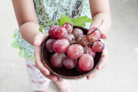wine grower: Hand girl holding wooden bowl bunch of grapes. Stock Photo