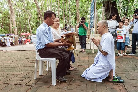 chaingmai: Chaingmai - July 25: Naga who will be ordained as the new one pray and ask for forgiveness his family in the Newly Buddhist ordination ceremony on July 25, 2015 in Chaingmai, Thailand. Editorial
