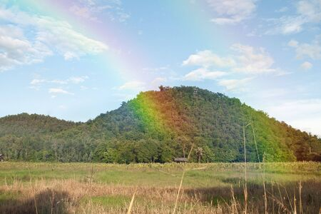 brig: mountain view with rainbow from nature in thailand