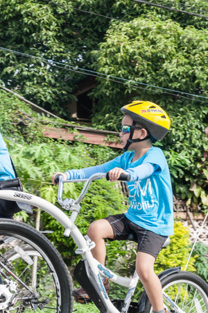 cerebrate: Lamphun,Thailand - August 16, 2015 : Event Bike for mom from Thailand, event respected to Queen Sirikit and thailands cyclists record for worlds biggest bike ride goes into guinness book
