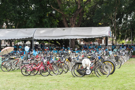 simultaneous: Lamphun,Thailand - August 16, 2015 : Many bikes in event Bike for mom  from Thailand, into Guinness World Records. Editorial