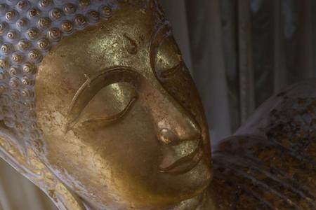 public domain: head of gold buddha image in Wat Non Kum, Nakhonratchasima Province, Thailand, public domain