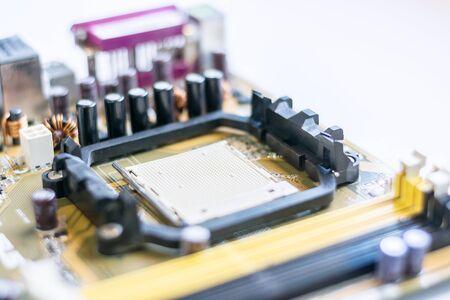 mainboard: Close up of CPU Socket on mainboard Stock Photo