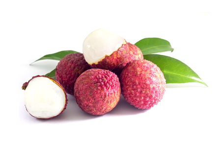 fresh fruit lychee with green leaf on white background, Asian sweet fruit.