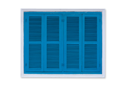 Vintage Blue Window Isolated On White Background, Old Louver Window.