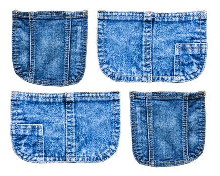 collection of Denim blue jeans pocket isolated on white background
