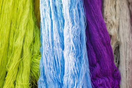 Colorful Of Silk Threads, Fabric Dyeing, Cotton Stained By Natural Subject Banque d'images