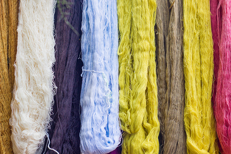 Colorful Of Silk Threads, Fabric Dyeing, Cotton Stained By Natural Subject Stock Photo