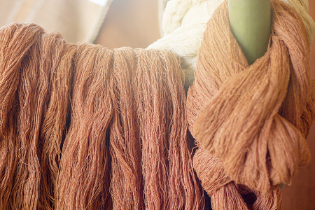 Image Of Silk Threads, Fabric Dyeing, Cotton Stained By Natural Subject