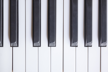 Piano Keys Viewed From Above, Flat Top View