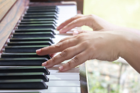 Hands Of Woman Playing Piano, Concept Of Classical Music Stok Fotoğraf