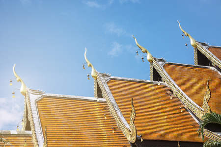 Roof Style Of Thai Temple With Gable Apex On The Top, Thailand