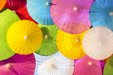 Colorful Handmade Paper, Popular And Famous Northern Thai Handicraft, The Concept Of Paper Umbrella Making Craft Thai.
