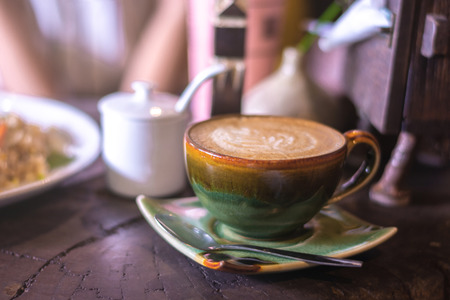 Soft focus on capuccino coffee cup, coffee for background - vintage effect process picture Stok Fotoğraf