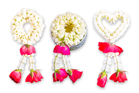 Jasmine Garland on White Background, Handmade For Gods In Buddhism In Thai Stok Fotoğraf