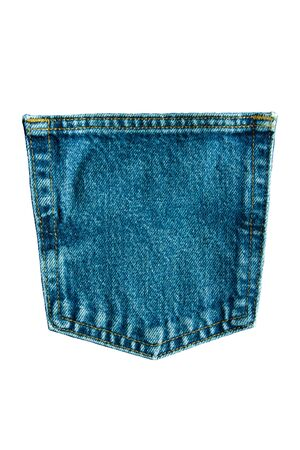 Denim Blue Jeans Pocket Isolated On White Background, Texture Is The Classic Indigo Fashion.