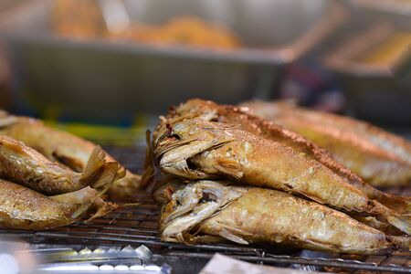 Fried Mackerel From The Street Market, Popular Food For Asian People.