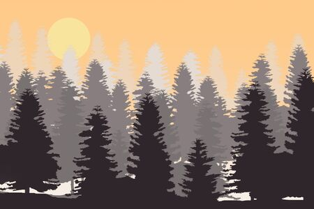 Pine Tree Forest Silhouette Isolated On White Background Stock Photo