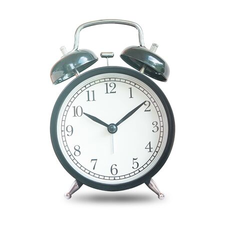 Black Retro Alarm Bell Clock Isolated On White Background,  Concept For Business Deadline.
