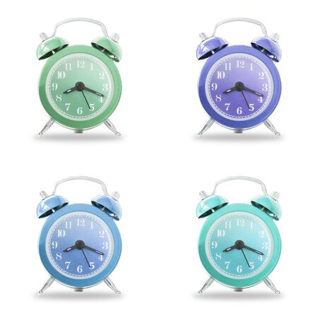 Collection Of Retro Alarm Bell Clock Isolated On White Background,  Concept For Business Deadline.
