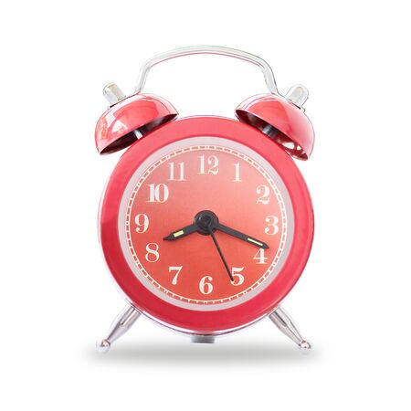 Red Retro Alarm Bell Clock Isolated On White Background,  Concept For Business Deadline. Stock Photo