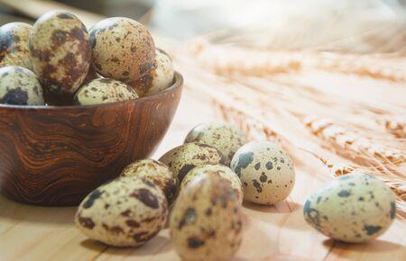 Fresh Quail Eggs, Rustic Style On Wood Background. Stock Photo