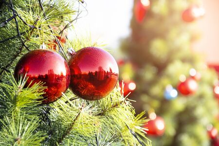 Beautiful Decorated Christmas Tree With Bright Balls, Christmas Light Background With Abstract Bokeh Light.