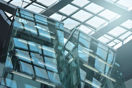 Architecture Abstract Background, Glass Curtain Wall, Fasteners Elements Of Spider Glass System,  Detail Of Facade.