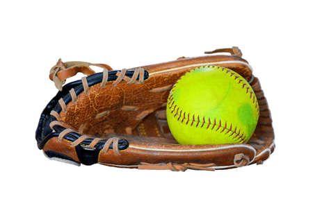 Closeup Of Vintage Softball Glove And Old ball Isolated On White Background.