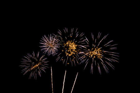 Colorful Fireworks Celebration, New Year Celebration Fireworks And The Black Sky Background. Stock Photo