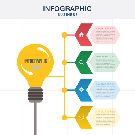 Light bulb Abstract infographics options template. Vector illustration. Can be used for workflow layout, diagram, business step options, banner, web design. Illustration
