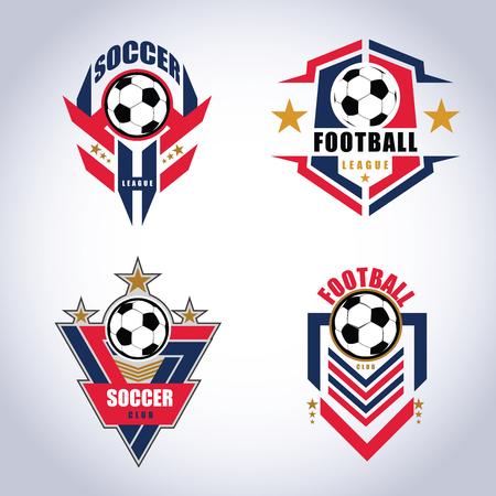 Modèles de conception de logo d'insigne de football de football   Illustrations vectorielles d'identité d'équipe de sport isolées sur fond bleu