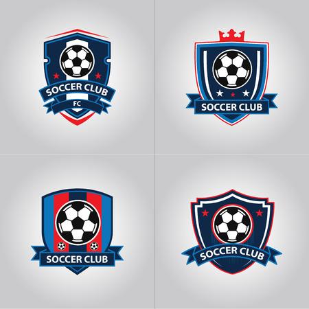 Voetbal voetbal Badge Logo ontwerpsjablonen | Sportteam identiteit vectorillustraties geïsoleerd op blauwe achtergrond