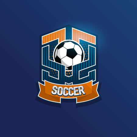 Soccer Football Badge Logo Design Templates | Sport Team Identity Vector Illustrations isolated on blue Background Illustration