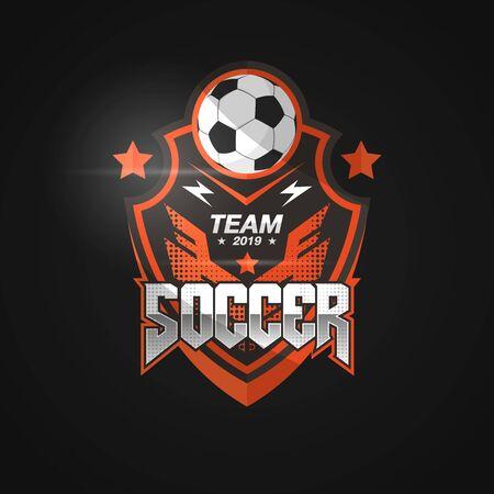 Soccer Football Badge Logo Black Orange Design Templates, Sport Team Identity Vector Illustrations isolated on Black Background