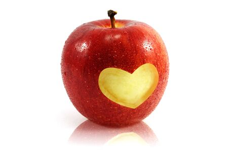 apple with heart shape photo