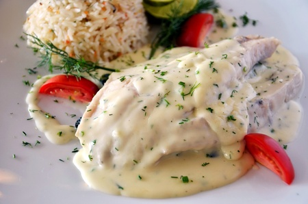 steak  from fish with creamy sauce  photo